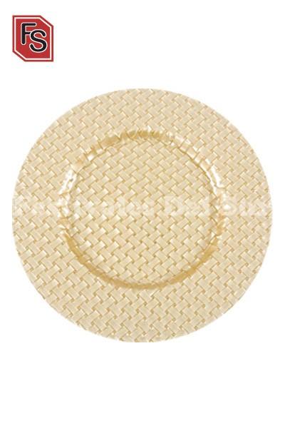 Plato presentación vidrio dorado