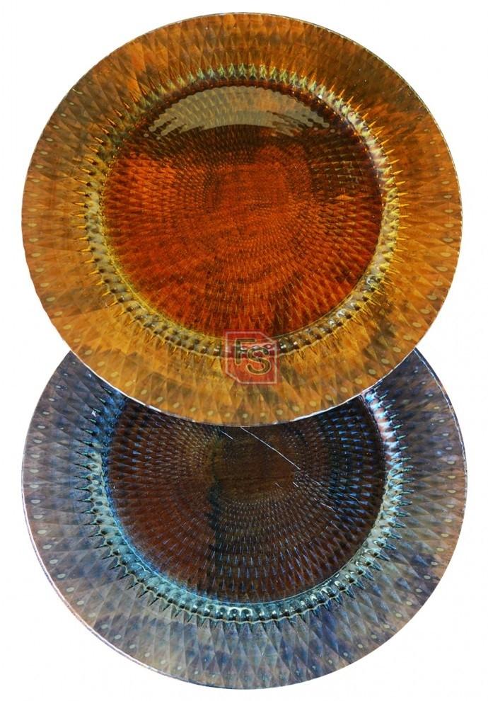 Bajoplato vidrio tallado colores