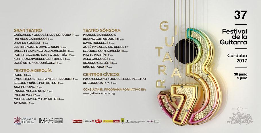 Cartel del Festival de la Guitarra. Edición 2017. Fuente: Festival de la Guitarra.