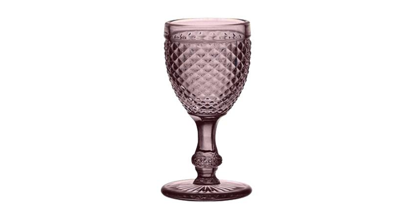 Copa Cristal Tallado Rosa